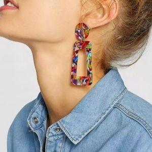 Acrylic Geometric Drop Earring